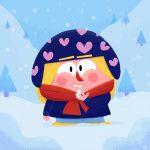 Kleinkind beim Schnee essen